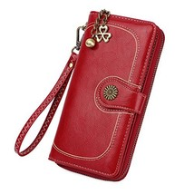 Zg Plenty Roomy Zip Around Wallet Clutch Purse with Tassel and Strap - Red - $23.05
