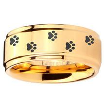 8mm Step Edge Paw Print Design 14K Glossy Gold Tungsten Ring Sz 7-14 - $39.99