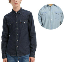 Levi's Mens Barstow Classic Western Denim Pearl Snap Button Casual Dress Shirt