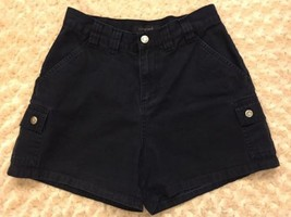 Vintage Lee Women's High Waist Shorts Black Ramie Cotton Blend Size 4 - $29.99