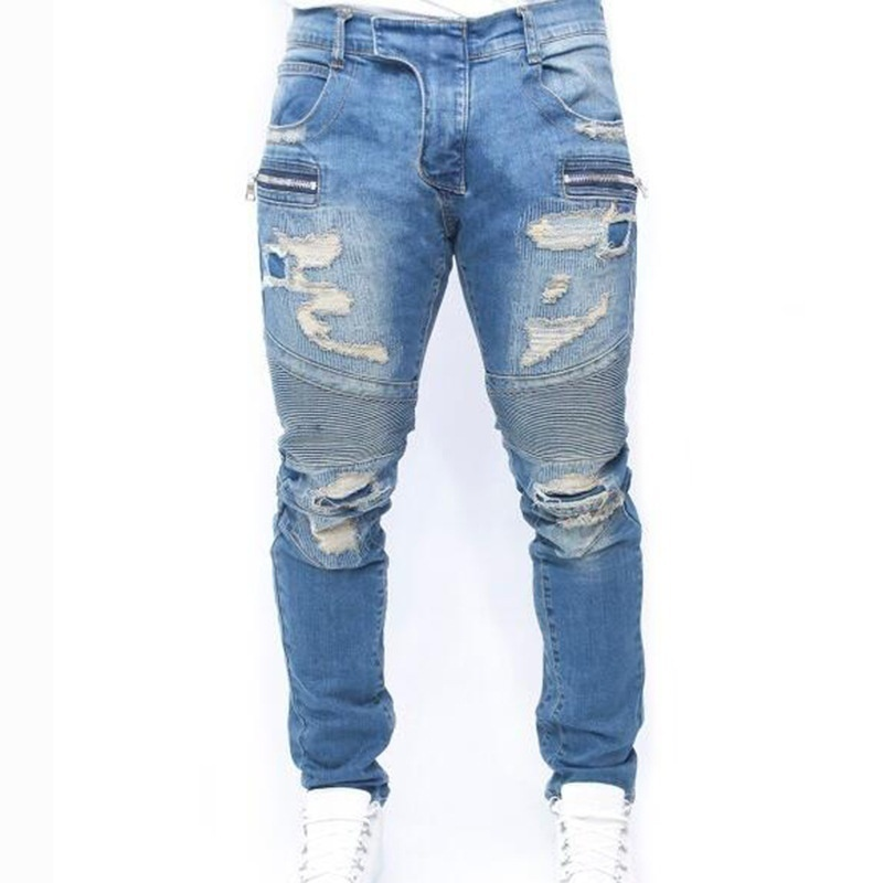 New Designer Regular Fit Men Jeans Fully Ripped Handmade Denim Jogger Pants Dist