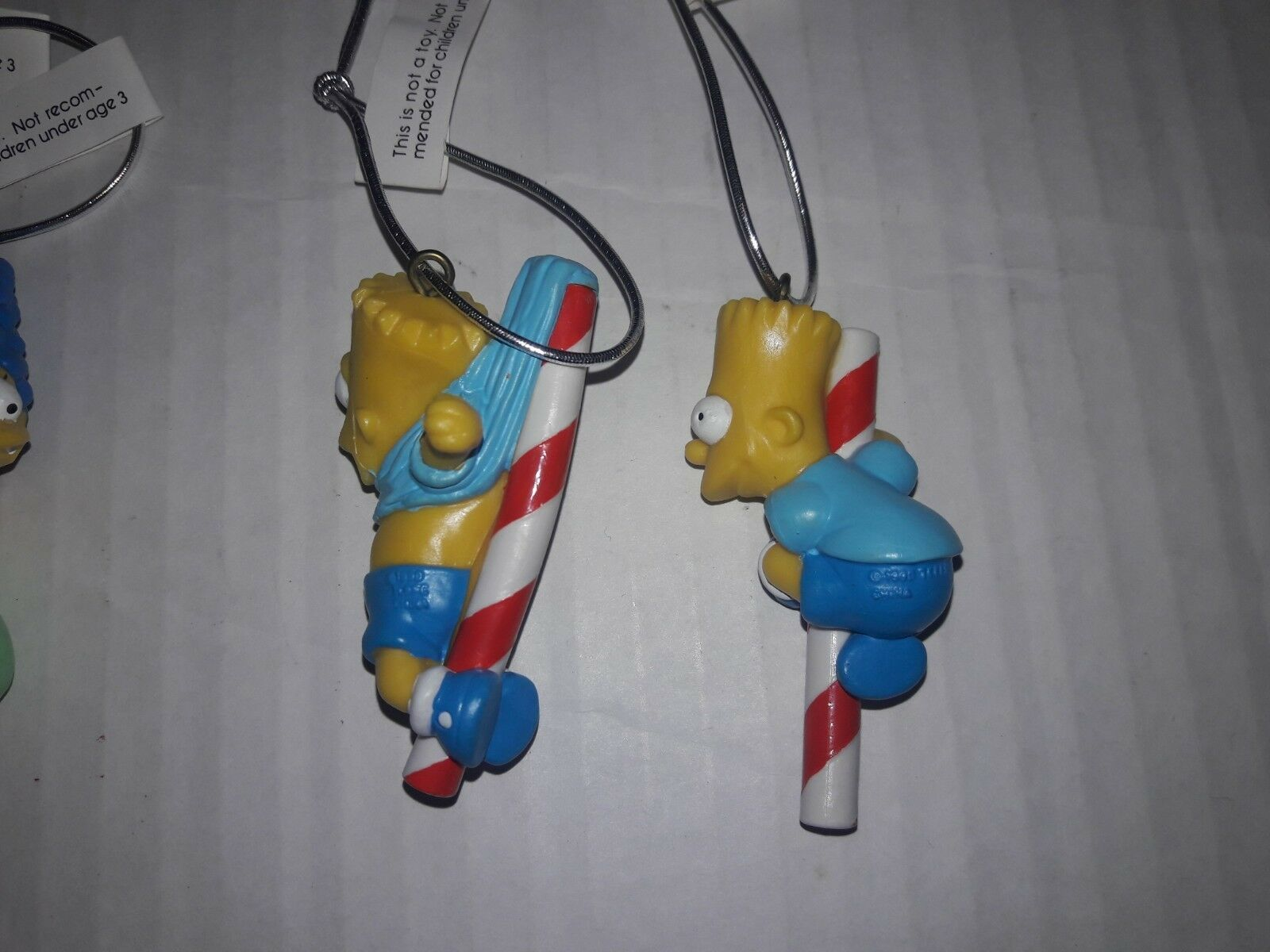 SET OF 4: THE SIMPSONS Candy Cane Christmas Ornaments Lot Bart Marge Lisa 90s