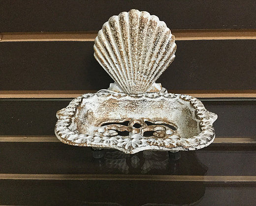Cast Iron Antiqued White Fan Shell Soap Dish Natical Decor