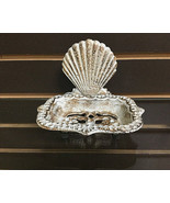 Cast Iron Antiqued White Fan Shell Soap Dish Natical Decor - $12.86