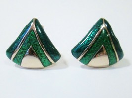 Vtg Signed Avon 1984 CLASSIC DRAMA Clip on Earrings Blue Green Shimmer w... - $13.49