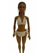 Barbie Doll Clothes Crochet Natural Gold Metallic 2-Piece Bikini Swimsui... - $6.99