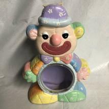 Carnival Clown ceramic Circus Clown Bank Clear Belly Savings 10+ inches - $9.99