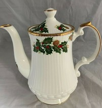 "Queens Yuletide Coffee Pot Holly Pinecone Rosina Fine Bone China England 7"" - $71.05"