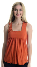 One Size Michael Stars Orange Square Neck Sleeveless Jersey Knit Cotton ... - $27.72