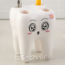 4 Holes Tooth Style Toothbrush Holder Cartoon Design Kids Bathroom Decor... - $7.70