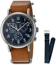 Timex TWG012800QM Unisex Weekender Chrono Tan Leather Strap Watch Gift S... - $84.53