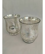 Mercury Glass Pillar Candle Holder Hurricane Shaped Globes Set of 2 - $13.17