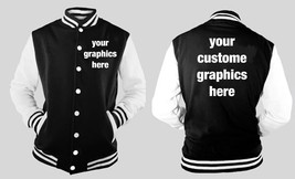 Custom Graphic On Front And Back Of Letterman Varsity BLACK/WHITE Fleece Jacket - $46.99