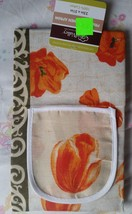 "RARE Fabric Kitchen Apron with pocket, (23"" x 31""), FLOWERS, 100% Cotton - $9.89"