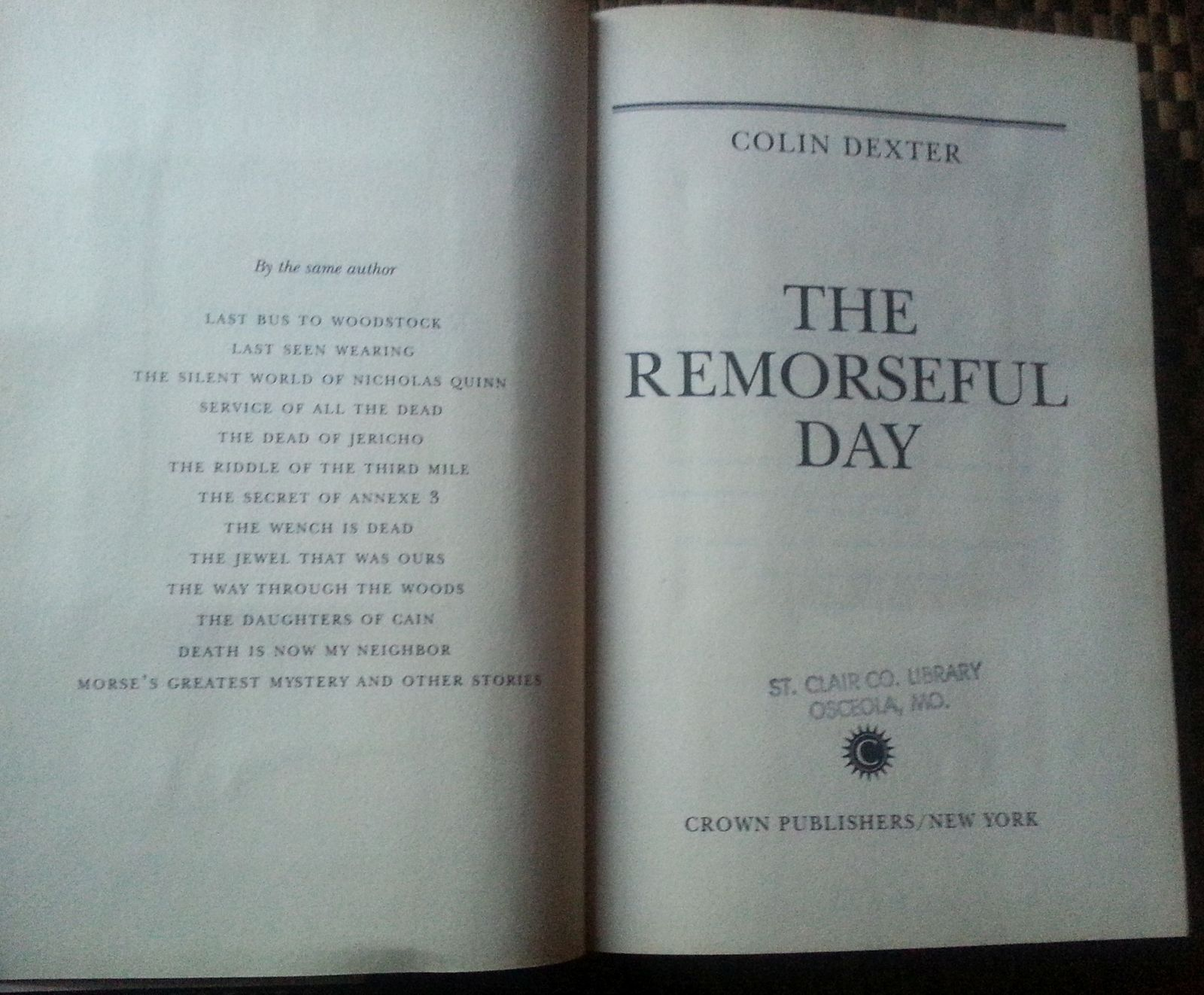 Remorseful Day by Colin Dexter 1990 HBDJ Cotswold Village