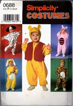 Uncut 90s Size 1/2 1 2 3 4 Bunny Tiger Dog Bear Costume Simplicity 0688 ... - $8.99
