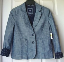 New Gap Women Academy Blazer Jacket Indigo Chambray Size 0 MSRP $60.00 - $51.17