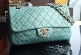 100% Authentic Chanel Limited Edition Turquoise Jewel CC Flap Bag GHW image 2