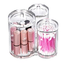 Sohapy Clear Acrylic Triple Round Cotton Ball and Swab Holder, Make up C... - $19.43