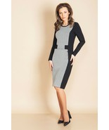 WORK DRESS ZIPPER POCKETS STRETCH SLIMMING CONTRAST LONG SLEEVE MADE IN ... - $94.00