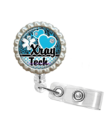 Blue X-Ray Tech Retractable Reel ID Name Tag Badge Holder - 1.12 - $10.00