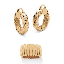 Section Dome Ring and Hoop Earrings Set Gold Tone - $10.82