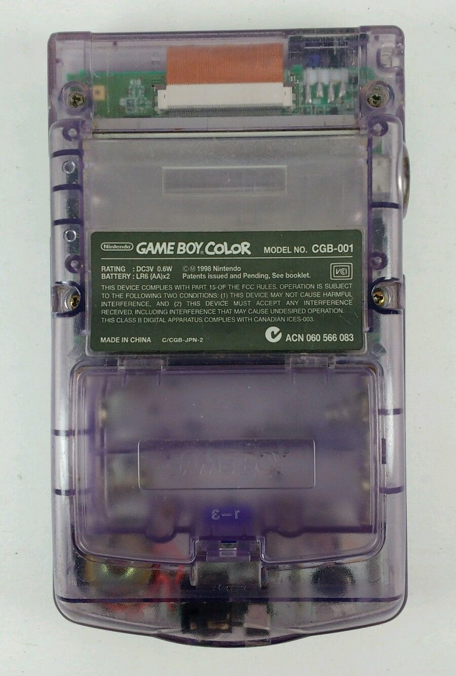 Atomic Purple Game Boy Color w/ New Screen Tomb Raider Car Adapter