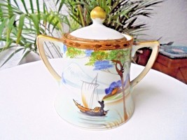 Nippon Antique Lidded Hand Painted Covered Sugar Bowl 1900-1940 - $29.99