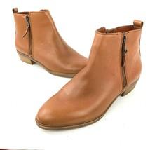 Lauren Ralph Lauren 'shira' Cognac Brown Leather Dual Zip Ankle Booties Sz 6.5 - $39.59