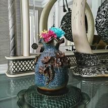 Handmade Embossed Ceramic Flower Pot Zen Vase Home Office Decor Gift for... - $59.95