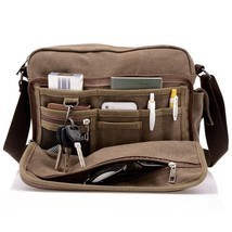 Men's Canvas Crossbody Messenger Bag Satchel Shoulder Travel Laptop Scho... - $35.63