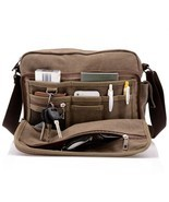 Men's Canvas Crossbody Messenger Bag Satchel Shoulder Travel Laptop Scho... - $46.15 CAD