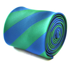 Frederick Thomas royal blue and green barber striped mens tie FT1910