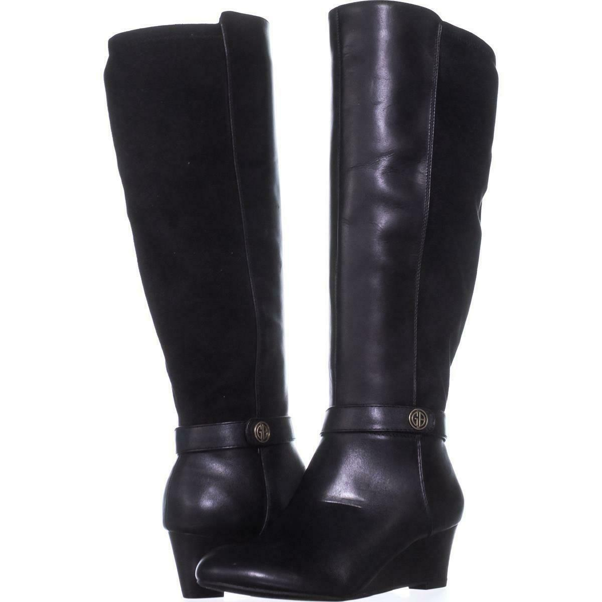 Primary image for GB35 Dafnee Knee High Wedge Boots 582, Black, 5 US