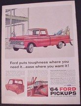 1964 Ford Pickup Print AD Truck Ford Trucks 'puts roughness where you wa... - $7.99