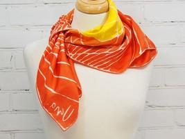 "Vera Neumann Lightweight 27"" Square Scarf - Orange/Yellow Geometric Vintage - $21.78"
