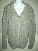St. John's Bay Womens Cardigan Size Large Gray Marled Zip Front Sweater ... - €22,10 EUR