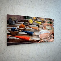 Wall Art Glass Print Canvas Picture Large Colouring String Dye p185373 1... - $58.20