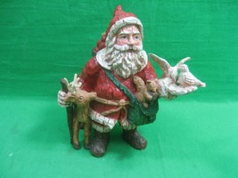 Vintage Santa Claus Figurine with Deer, Squirrel and Birds  - $13.98