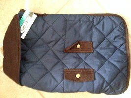Wag & Bone Quilted Dog Jacket: Large/Navy Quilted Cord Trim Pocket - $19.69