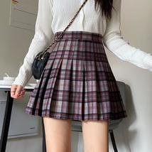 Women Girl Red Plaid Skirt Outfit High Waisted Pleated Red Plaid Skirt Plus Size image 8