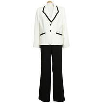 TAHARI Cream Black Crepe Flared Leg Pant Suit 14 - $139.99