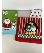 Bundle of 4 Vintage Christmas Holiday Kitchen Hand Towels Penguin Snowme... - $19.79