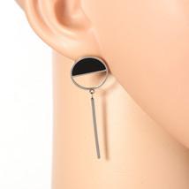 Unique Silver Tone Designer Earrings, Jet Black Faux Onyx Circle & Dangling Bar - $17.99