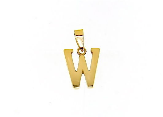 18K YELLOW GOLD LUSTER PENDANT WITH INITIAL W LETTER W MADE IN ITALY 0.71 INCHES