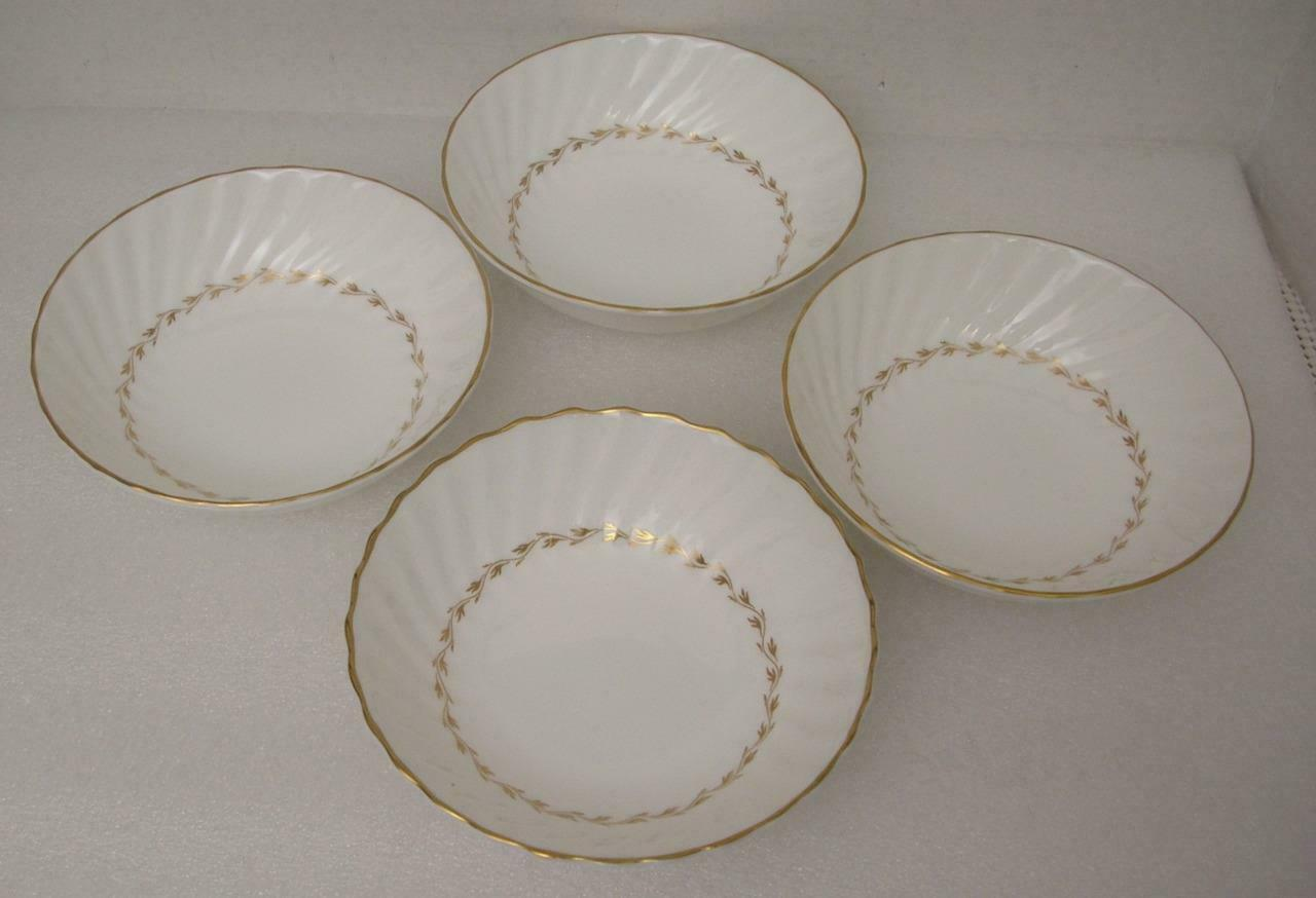 Primary image for ADRIAN by Royal Doulton China 4 FRUIT DESSERT SCAUCE BOWLS H.4816 Gold Laurel