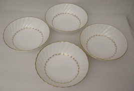 ADRIAN by Royal Doulton China 4 FRUIT DESSERT SCAUCE BOWLS H.4816 Gold L... - $34.91