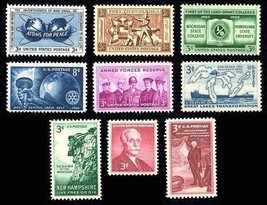 1955 Year Set of 9 Commemorative Stamps Mint NH - Stuart Katz - $5.50
