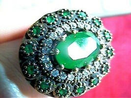 EMERALD SILVER RING 8 NATURAL 925 STERLING ARTISANAL HANDMADE UNIQUE  - $79.30