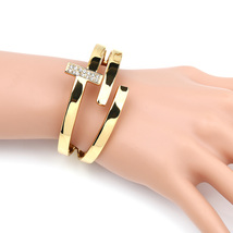 UE-Designer Gold Tone Hinged T-Bar Bangle Bracelet With Swarovski Style ... - $22.99